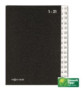 DIN A4 PVC 32 Fächer Leinenrücken ELBA Pultordner 1-31 Farbauswahl